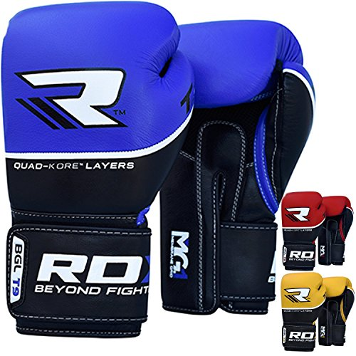 RDX Cow Hide Leather Gel Boxing Gloves Sparring Training Glove Punching Bag Mitts Muay Thai T9