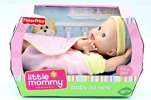 Little Mommy Baby So New Baby Girl with Yellow Striped Cap and Pink Blanket