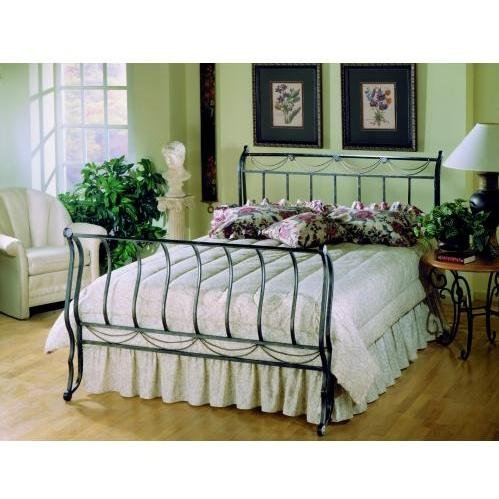 Queen Hillsdale Camelot Metal Sleigh Bed In Black Gold Finish Review
