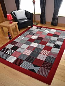 Trend Red WindowDesign Rug. Available in 8 Sizes by Rugs Supermarket