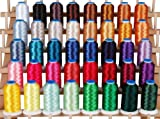 Polyester Embroidery Thread Set - 40 Spools (1000 meter spools/40 wt.) - Set A Vibrant Colors