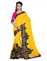 Designersareez Women Yellow Chiffon Saree With Unstitched Blouse (1677)