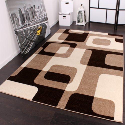 Kurzflor Retro Designer Teppich 240 x 320 cm in Braun Beige Creme