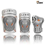 JBM BMX Bike Knee Pads and Elbow Pads with Wrist Guards Protective Gear Set for Biking, Riding, Cycling and Multi Sports Safety Protection: Scooter, Skateboard, Bicycle, Rollerblades (Silver, Child)