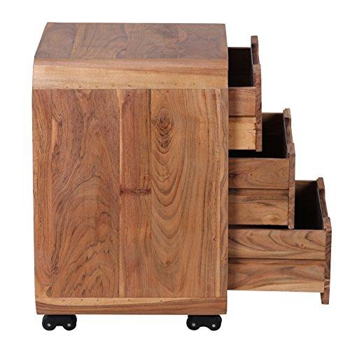 Wohnling rollcontainer akazie massivholz design for Schreibtisch holz dunkel