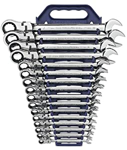 GearWrench 9902 16 Piece Flex-Head Combination Ratcheting Wrench Set Metric