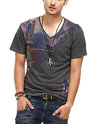 Chlorophile Men's V Neck Cotton T-Shirt (Bih_Anthra Melange_Small)