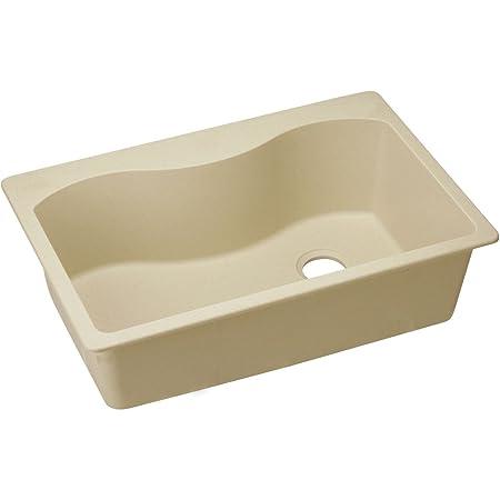 "Elkay ELGS3322RSD0 Granite 33"" x 22"" x 9.5"" Single Bowl Top Mount Kitchen Sink, Sand"