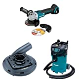 Makita XAG09Z 18V LXT Brushless 4-1/2-Inch - 5-Inch Cut-Off/Angle Grinder (Tool Only), 195236-5 Surface Grinding Shroud, & VC4710 12-Gallon Xtract Vac Wet/Dry Dust Extractor/Vacuum