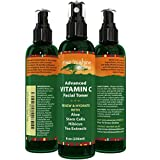 Vitamin C Facial Toner (8 Oz) With Aloe Vera, Green Tea Extract, Vitamin B5, Vitamin C And Vitamin E Advanced 100% All Natural Organic Anti Aging Pore Minimizer For Face, Skin And Neck