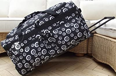 Travel Holdall trolley Luggage Bag On Wheels Black swirls large size