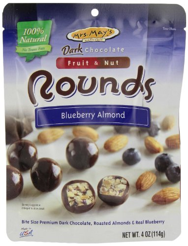 Mrs. May'S Dark Chocolate Rounds, Blueberry And Almond, 4-Ounce