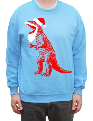 Happy Family Clothing Big Bang Theory Santa T-Rex Ugly Sweater Pullover Sweatshirt X-Large Blue