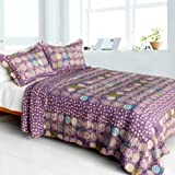 [Parfait-Amour] Cotton 3PC Vermicelli-Quilted Polka Dot Patchwork Quilt Set (Full/Queen Size)