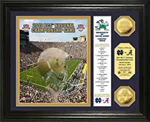 NCAA Notre Dame 2013 BCS National Championship Game Gold Coin Banner Photomint by Highland Mint