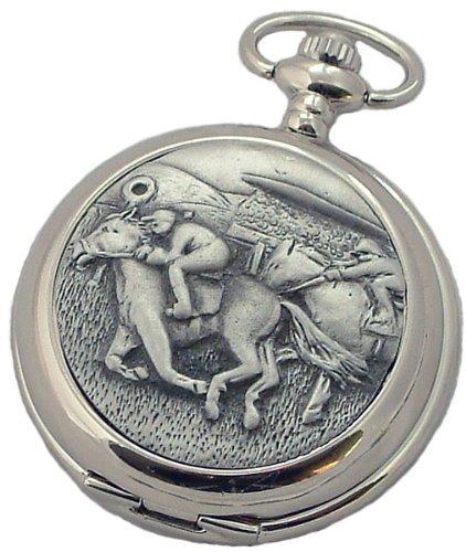 A E Williams 4940 Horse Racing mens quartz pocket watch with chain
