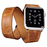 Apple Watch Genuine Band,Icarercase Classic Genuine Leather Quadri-Watchband Series Replacement Strap Classic... - B0138LHQRM