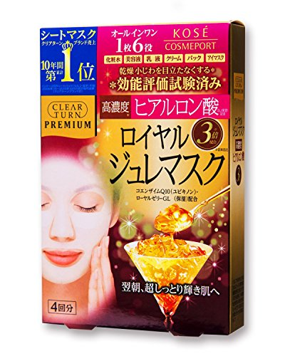 KOSE COSMEPORT CLEAR TURN Premium Royal Jelly Mask (Hyaluronic acid) (Japanese Royal Jelly compare prices)