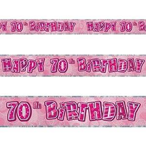 12ft Happy 70th Birthday Pink Sparkle Prismatic Party Foil Banner Decoration by Unique
