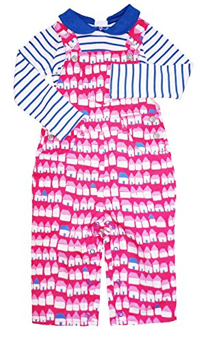 Mini Boden Overall and Striped Collared Shirt Set in Beach Hut Print (2-3Y)