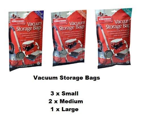 Kingfisher Vacuum Storage Bags Small Medium & Large 6 Bags In Total