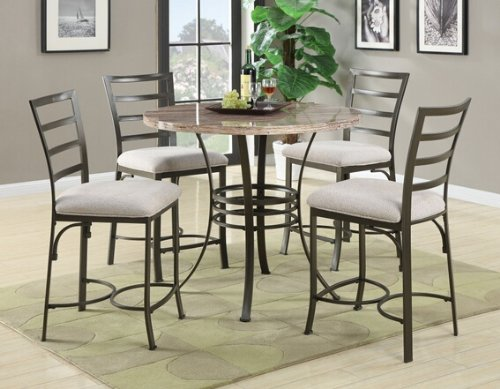 5 pc Val collection round white faux marble top counter height dining table set with dark metal finish frame