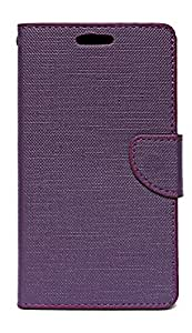 ECellStreet Exclusive Textured Premium Flip Cover Diary Folio Case Cover with Magnetic Lock and Media Stand For YU Yureka AO5510 / Yu Yureka Plus - Purple