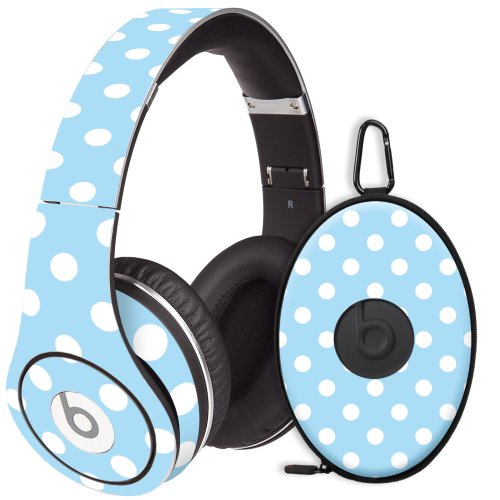 White Polka Dot On Baby Blue Decal Skin For Beats Studio Headphones & Carrying Case By Dr. Dre