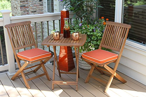 Outdoor Interiors 3-Piece Square Bistro Set, Orange Cushions Included, Brown and Orange