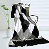 Onitiva - [Plaids - Black/Gray/White] Soft Coral Fleece Patchwork Throw Blanket (59 by 78.7 inches)