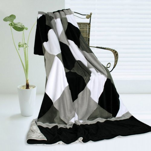 Onitiva - [Plaids - Black/Gray/White] Soft Coral Fleece Patchwork Throw Blanket (59 By 78.7 Inches) front-919093