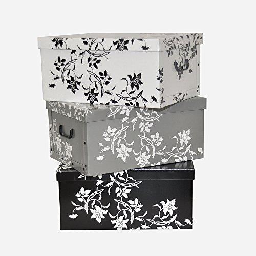3-Stck-Deko-Karton-der-Serie-Barock-Blumen-in-Wei-Schwarz-und-Grau-XXL-Volumen-tolle-Optik-und-super-Stabilitt-Jede-Box-mit-den-Maen-51-x-37-x-24-cm-Topp-fr-Haushalt-Bro-Wsche-Geschenkbox-uvm