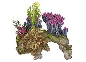 """Aquarium Dekoration Aqua Ornaments """"KORALLE"""" mit Pflanzen; L15,5 x B9 x H10,5 cm"""