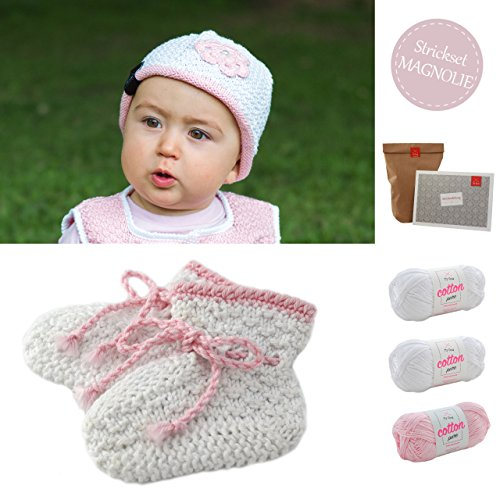baby diy strickset h kelset babyschuhe m tze bl tenzauber babysocken stricken. Black Bedroom Furniture Sets. Home Design Ideas