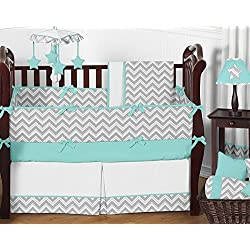 Sweet Jojo Designs Gray and Turquoise Chevron Zig Zag Gender Neutral Baby Bedding 9 pc Boy or Girl Crib Set