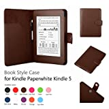 Micros2u PREMIUM CHOCOLATE BROWN Kindle 4th, Kindle Touch & Paperwhite Leather Case Folio Cover with Smart Auto Wake/sleep Function. Designed for Amazon Kindle 6 inch models. Free Capacitive stylus with each case.