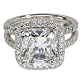 Platinum Cushion Cut Diamond Ring (GIA Certified 5.11 ct center, 5.95 cttw, I Color, VS1 Clarity), Size 6