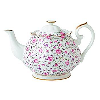 Royal Albert Rose Confetti Formal Vintage Teapot, White