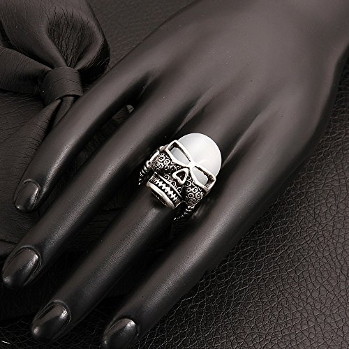 Novelty Statement Rings Vintage Punk Skull Opal Cocktail Band Rings