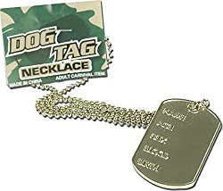 Adults Military Fancy Dress Party Accessory Soldier's Jewellery Dog Tag Necklace by Bristol Novelty
