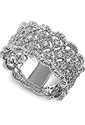 Whitney's Intricate Lace Design Silver CZ Ring