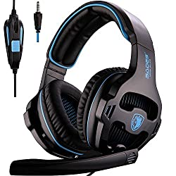 [2016 New Version Headset for PS4 PC] SADES 810S Gaming Headset Headphones for PlayStation4 PS4 PC Laptop MAC with Noise Reduction microphone (Black+Blue)