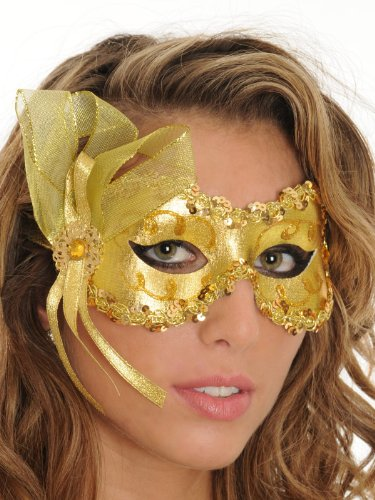 Gold Angelina Eye Mask Mardi Gras Womens Accessories Costume