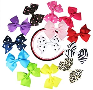 HipGirl Boutique Girls 16pc Interchangable Pinwheel Hair Bow and Headband Set