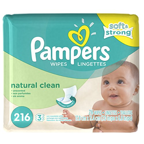 Pampers Natural Clean Baby Wipes - Unscented - 216 ct - 1