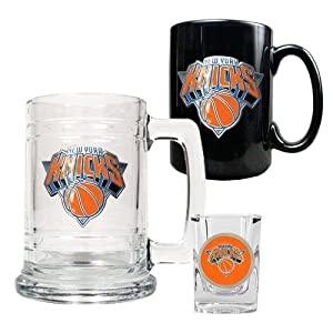 NBA New York Knicks 15-Ounce Tankard, 15-Ounce Ceramic Mug & 2-Ounce Shot Glass... by Great American Products