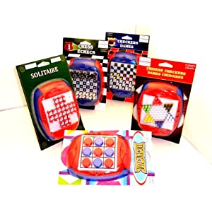 Travel Games for Kids Plastic Set of 5 Chess, Checkers, Solitaire, Chinese Checkers & Tic Tac Toe