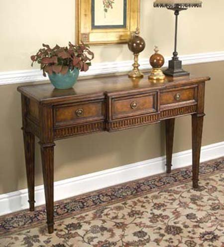 Cheap Cherry Inlay Console Table with Leather Panel Drawers (B0017LQ36G)