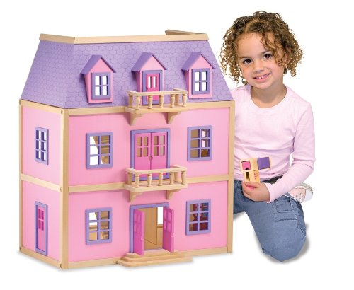 Melissa-Doug-Multi-Level-Wooden-Dollhouse-With-19-pcs-Furniture