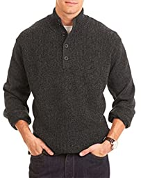 Nautica Men\'s Four Button Mock Neck Pullover Logo Sweater (X-large, Charcoal)